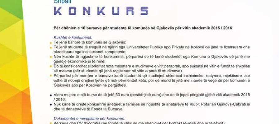 K O N K U R S  Për dhënien e bursave për studentë të komunës së Gjakovës për v.a. 2015 / 2016