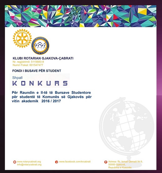 KONKURS – Për Raundin e II të Bursave Studentore për studentë të Komunës së Gjakovës për vitin akademik  2016/2017