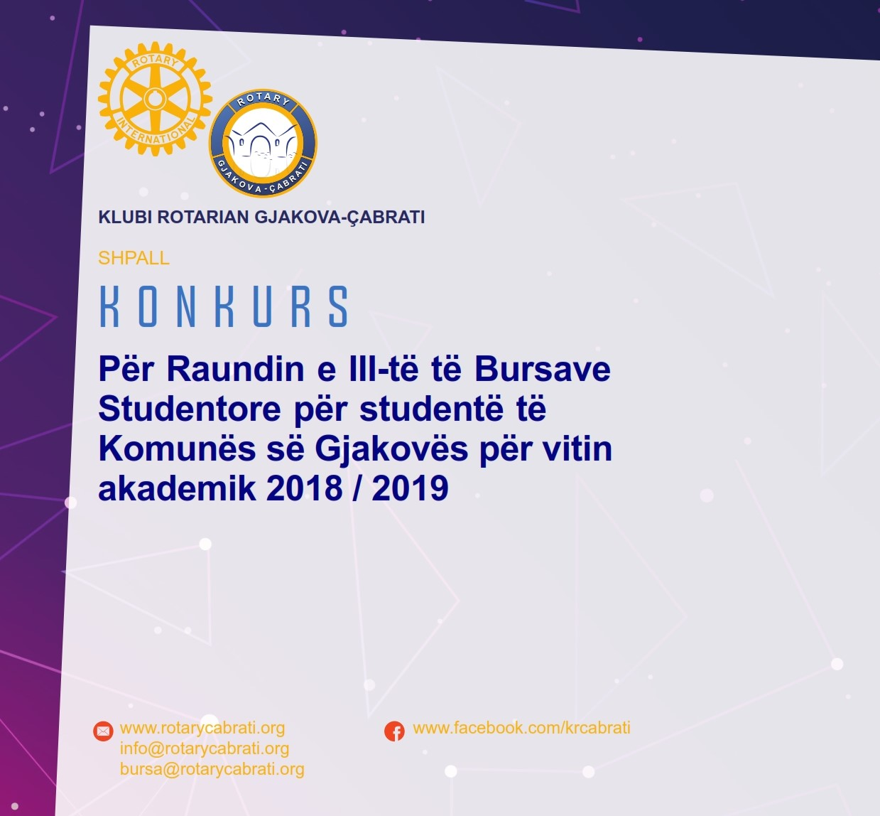 KONKURS – Për Raundin e III të Bursave Studentore për studentë të Komunës së Gjakovës për vitin akademik 2018 / 2019